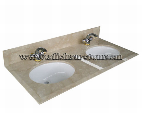 Botticino Marble Vanit Top Double Sink Cut