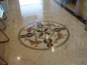 waterjet marble medallion in hotel's hall